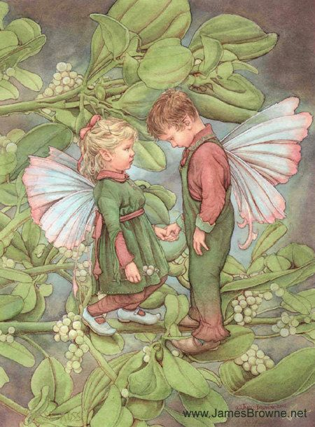 First Kiss Boy and Girl Fairy Greeting Card. James Browne.