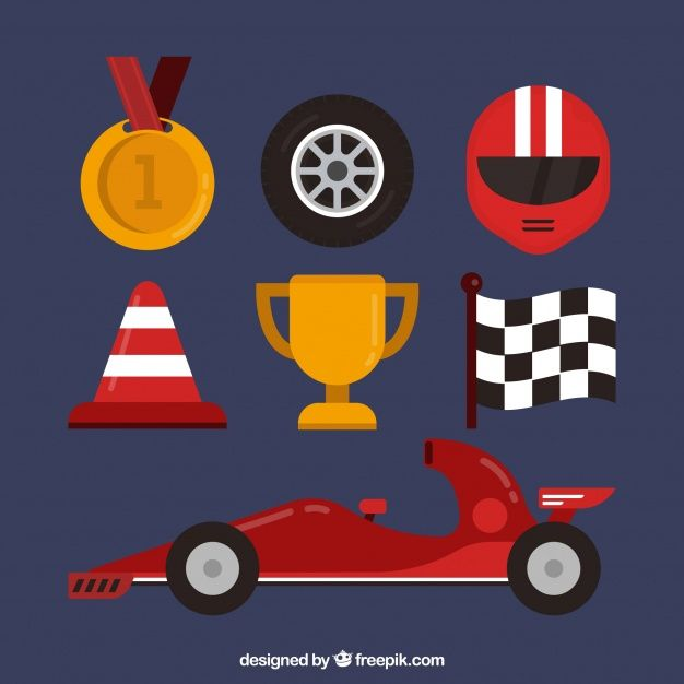 Download Flat Formula 1 Element Collection For Free In 2020