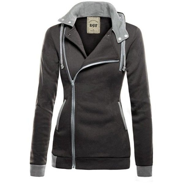 DJT Women Zipper Hoody Winter Warm Hoodie Sweatshirt Outerwear Jacket... (£12) ❤ liked on Polyvore featuring outerwear, coats, jackets, zip coat and zipper coat