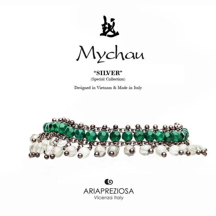 Mychau Silver - Bracciale realizzato in Argento 925‰ (galvanica rutenio) e pietre naturali Agata Verde ed Agata Ghiaccio