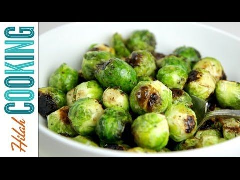 Wasabi Roasted Brussels Sprouts Recipe - Hilah Cooking  Made this with horseradish, carmelized onion chutney and some sriracha. :o