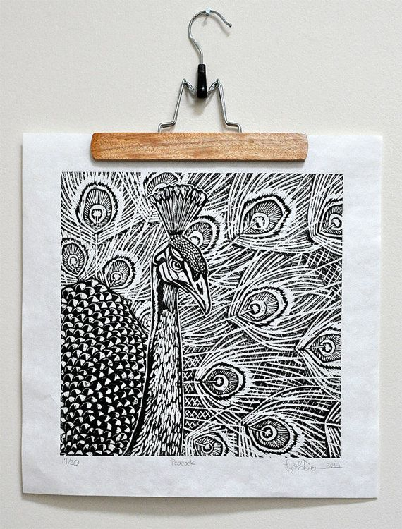 Peacock linocut - black ink on thai mulberry paper on Etsy, $40.00