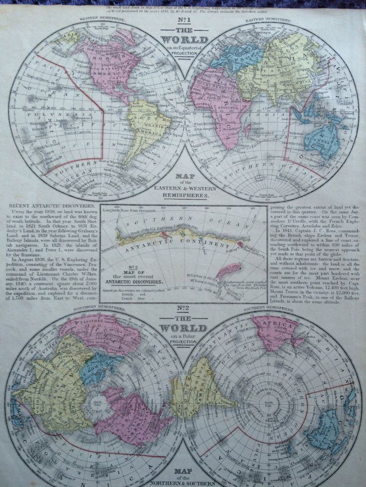 Mejores 74 imgenes de world maps en pinterest mapas antiguos 1855 original antique hand coloured hemisphere world map on polar and equatorial projection showing antarctic exploration 95 x 115 inches gumiabroncs Choice Image