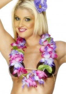 Deze mooie bloemen ketting in de roze en paarse kleuren is helemaal in de Hawaiiaanse stijl. Deze bloemen ketting is een productie van Smiffy's.     Set bestaat uit:  - Bloemen Ketting Hawaii