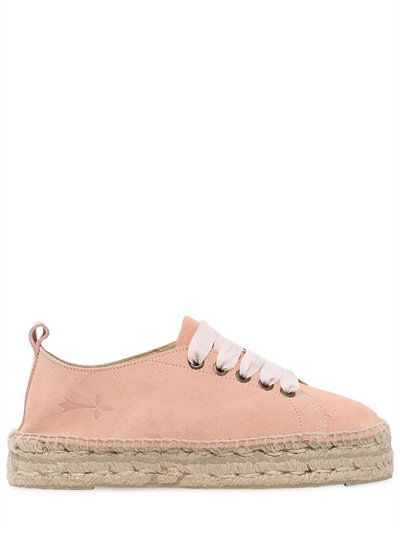 MANEBÌ - 30MM SUEDE LACE UP ESPADRILLES - FLATS - PINK - LUISAVIAROMA - 30mm  Rope