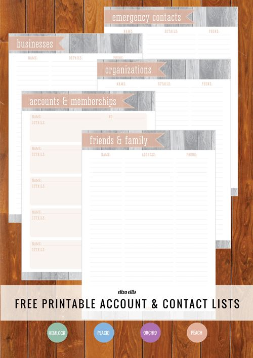 Free Printable Account & Contact Lists - how's your Home Organizer going so far? #freeprintable #organizing