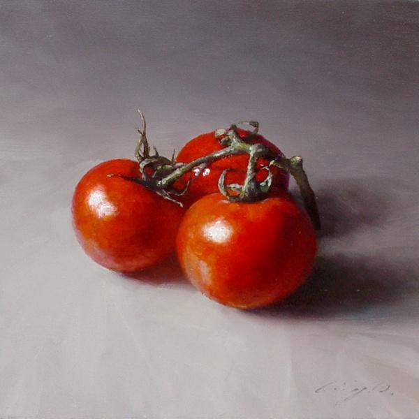 ning lee - three tomatoes, oil on linen 2010