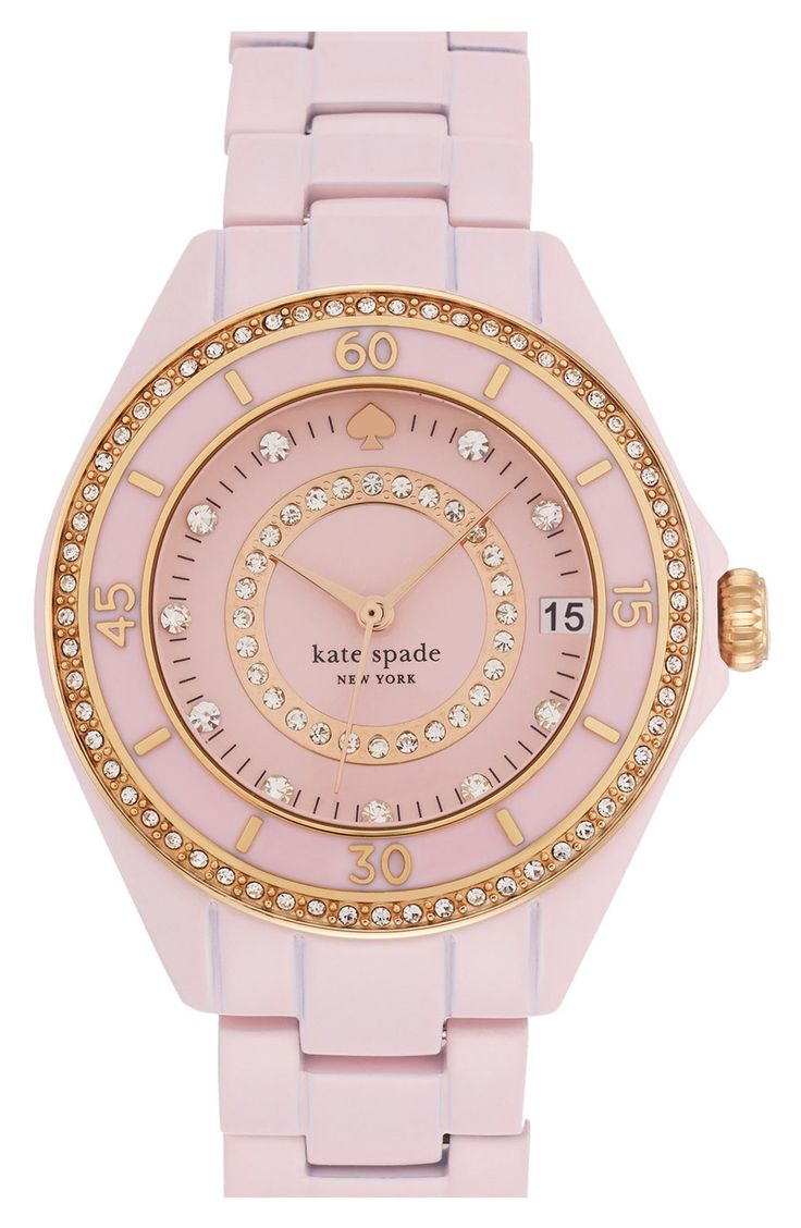 Love the sparkly crystals on this pastel pink watch.