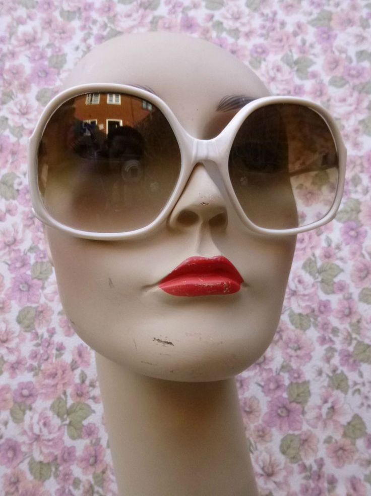 Women's Sunglasses Large Retro Genuine Vintage White 1960s 1970s VGC