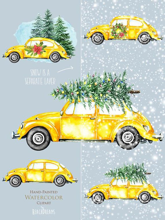 Christmas Yellow Retro Cars, Watercolor, VW Beetle clipart, volkswagen, Christmas tree, cute ...
