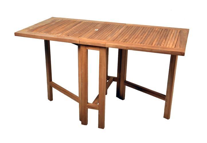 DIVERO Balkontisch Gartentisch Tisch Klapptisch 130x65 cm Holz Teak massiv - Vorschau 1