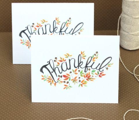 Free fall thank you card printable! #fall #thankful #card