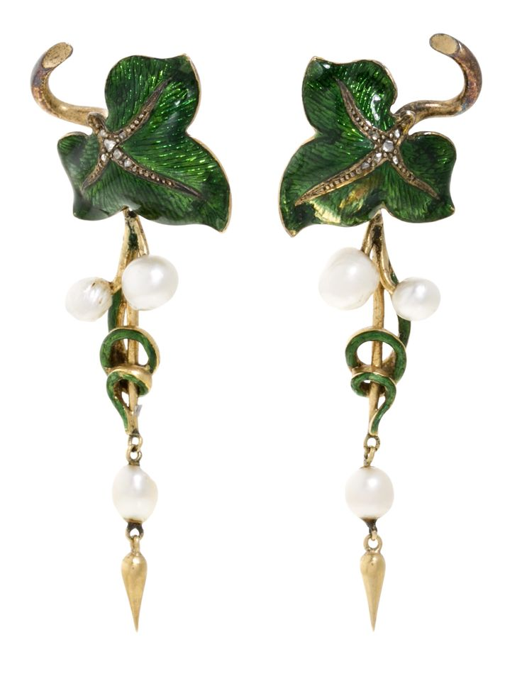 *** Crazy big savings on stunning jewelry at http://jewelrydealsnow.com/?a=jewelry_deals *** A pair of antique gold, silver, guilloché enamel, diamond and pearl earrings…