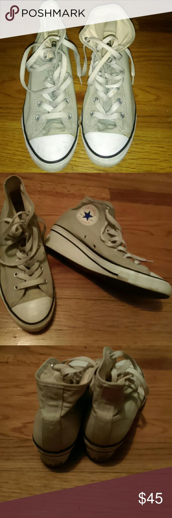 Converse Wedge Sneakers Gently used...pale gray Converse Shoes Sneakers