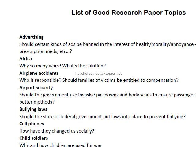 list of topic for research paper List of research paper topics you are in high school in college, writing research papers is an integral part of your education here is a list of research paper topics to choose from, and make a difference with your work.