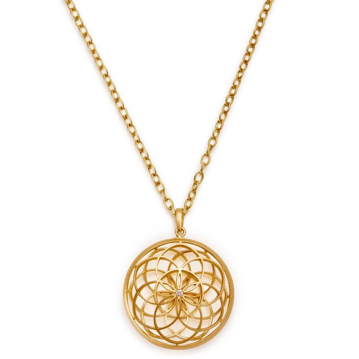 Inspired by ancient Hindu and Buddhist traditions, the 18k gold Mandala pendant is blessed in a sound bath using Tibetan singing bowls, Paiste planet gongs, and string instruments. Concentric circles hand-finished with a matte sheen radiate from a diamond center, echoing the sacred sound Om with a unique design informed by sacred geometry. Infused with powerful healing and balancing sound vibrations, this piece emanates universal forces to inspire inner harmony and peace. Exclusively at…