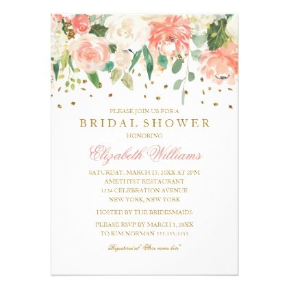 Floral Glitter Sparkling Peach Bridal Shower Card - invitations personalize custom special event invitation idea style party card cards