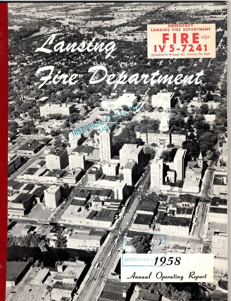 https://flic.kr/p/BxYHVY | Aerial photo of downtown-from 1958 Lansing Fire Department booklet-MI | EPSON MFP image
