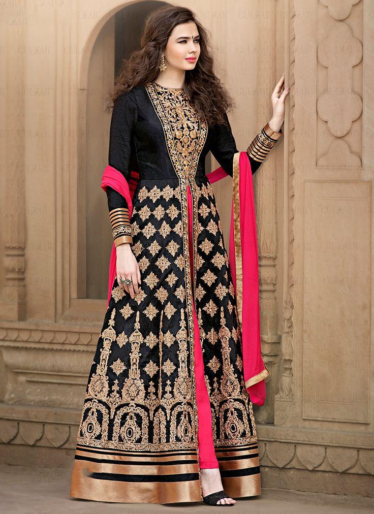 Black Banglori Silk Wedding Wear Embroidered Work Floor Touch Anarkali Suit