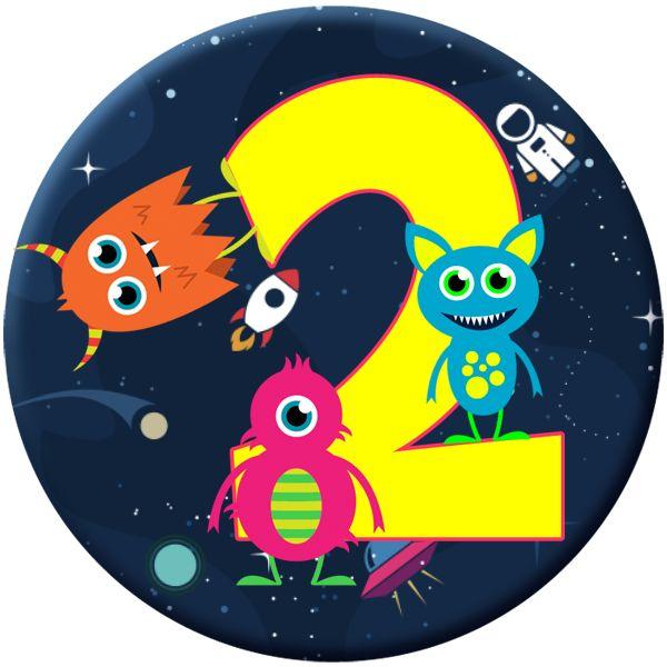 Monster 2 Age Birthday Badge for Kids #903