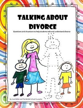 "Kids deal with a lot of tough questions and situations when dealing with divorce. These cards help get students talking. Can be used in either individual or small group counseling, this set of 48 ""Talk About It"" Cards asks students to reveal their thoughts and feels about their own divorce and the 32 ""Share Your Advice"" Cards allows students to role play and discuss various situations around divorce. how divorce affects kids, divorce and kids"