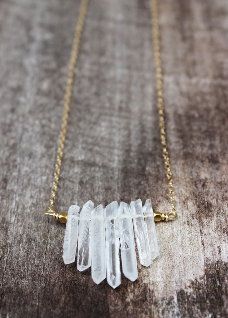 Crystal Quartz Bar Necklace  Gold filled chain with by NatureVibe, $42.00