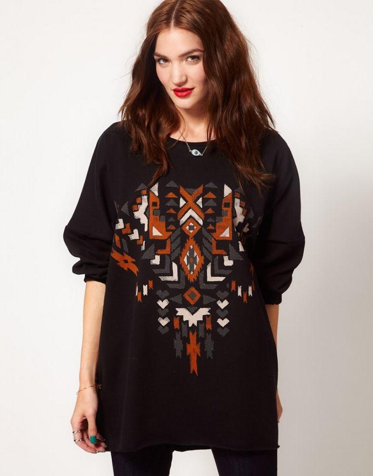 Just Female Black Ethic Print Oversized Sweatshirt