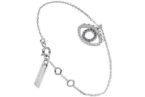 Bracelet chaîne Eye en argent 925 rhodié, brillants, 2.5g Kenzo