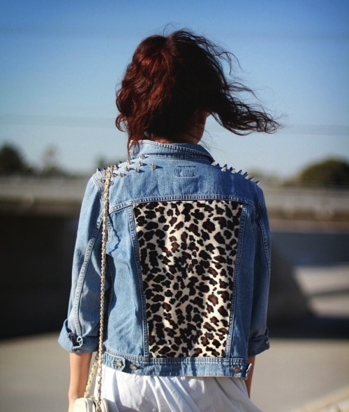 denim + leopard jacket.