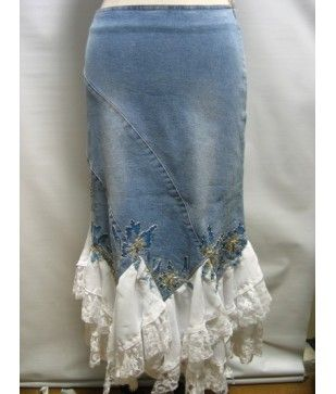 denim skirt w/white lacy ruffles and what looks like embroidered trim following the hem points