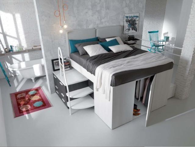 lit mezzanine deux places avec mini-dressing au-dessous