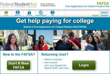 The FAFSA website - Image from FAFSA.gov