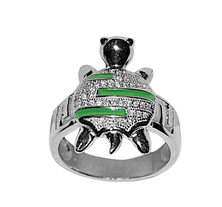 Tortoise Ring In 925 Sterling Silver Green Cz New Turtle Animal Charm Heavy Real #Animal