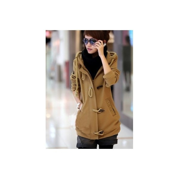 Buy Korean Fashion Hoodie Cotton Blends Flannel Free Size Khaki Horn... via Polyvore