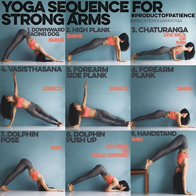 YOGA SEQUENCE FOR STRONG ARMS This sequence is all about holding, most yoga poses require a lot of holding on so why not strengthen by holding the foundation? - 1. DOWNWARD FACING DOG 5mins Man will you feel this in the shoulders but get up close & personal with your foundation & all harder poses will feel easier - 2. HIGH PLANK 2mins This will force you to not let the hips drop & really lift through the core, great for those who have very bendy spines & struggle with arm balance