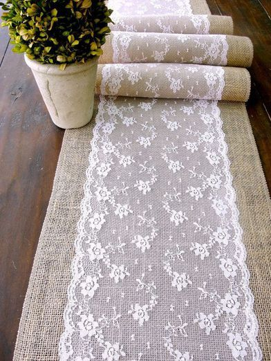 Wedding table runner, pink lace rustic chic...