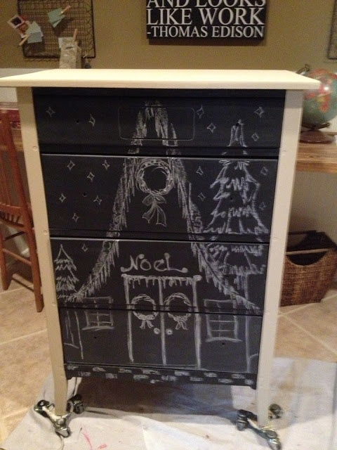 Chalkboard Dresser. Don't like the drawing on this one but like the idea.