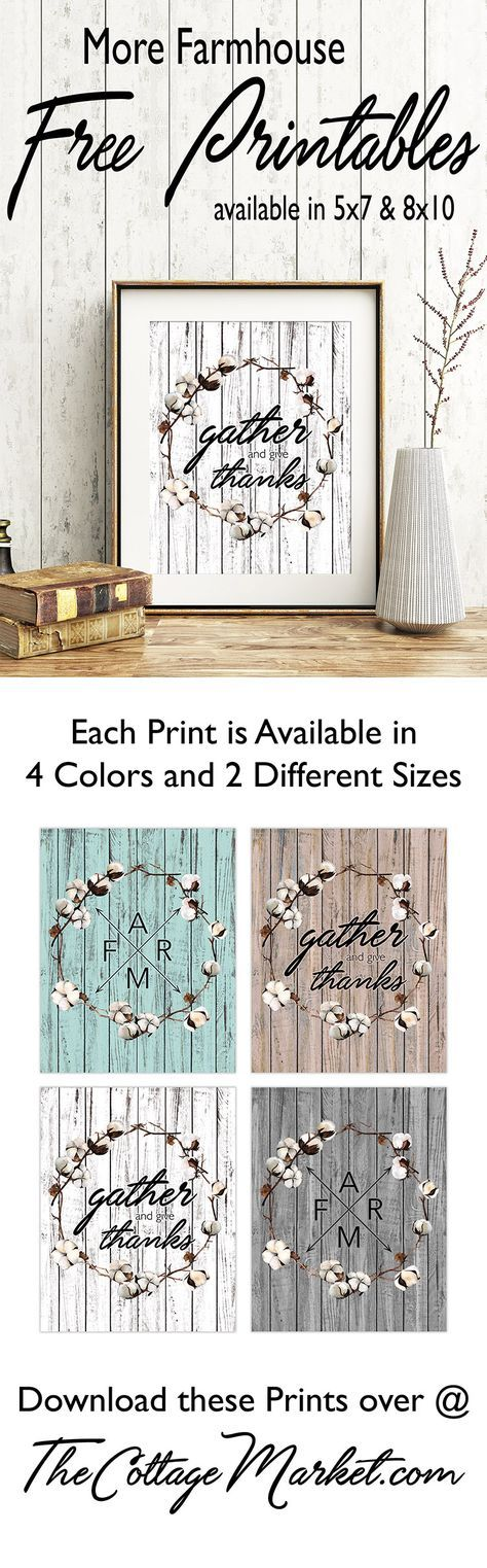 FREE Farmhouse Printables for your Home!  Available in 4 Weathered Wood Shades!  Snatch up all 4 sets!