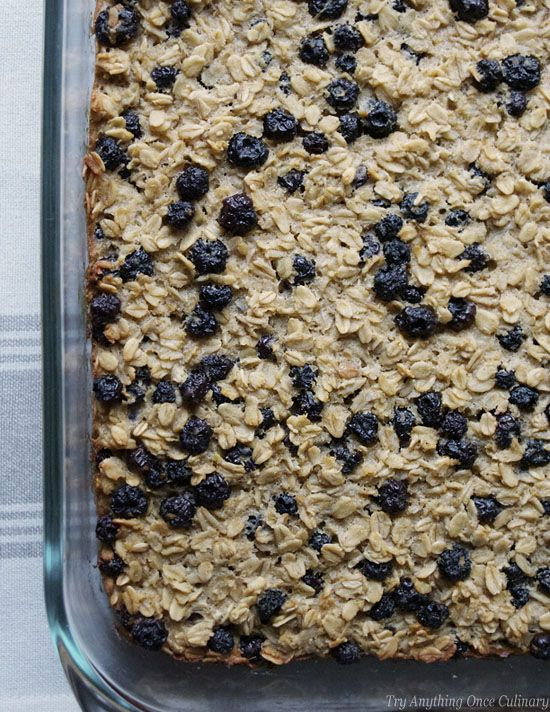 Baked Blueberry Oatmeal for a make ahead weekday breakfast. | www.tryanythingon... | #bakedblueberryoatmeal #weekdaybreakfast #schooldaybreakfast