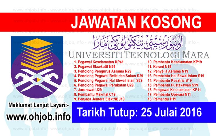 Jawatan Kosong Universiti Teknologi MARA (UiTM) (25 Julai 2016)   Kerja Kosong Universiti Teknologi MARA (UiTM)  Permohonan adalah dipelawa kepada warganegara Malaysia bagi mengisi kekosongan jawatan di Universiti Teknologi MARA (UiTM) Negeri Sembilan seperti berikut:- 1. Pegawai Keselamatan KP41 2. Pegawai Eksekutif N29 3. Penolong Pengurus Asrama N29 4. Penolong Pegawai Belia dan Sukan S29 5. Penolong Pegawai Hal Ehwal Islam S29 6. Penolong Pegawai Perubatan U29 7. Jururawat U29 8…