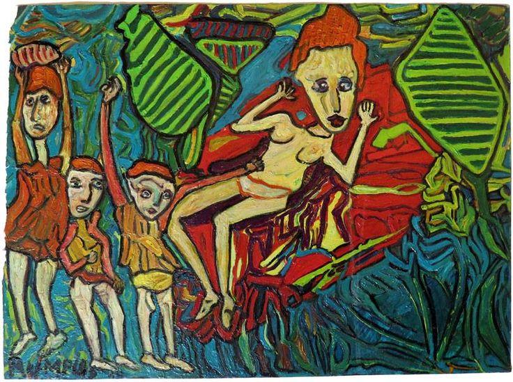 """Jean-Luc Adde       RUMPUS (Jochem Éric Rumpus), """"Figuration Libre"""" huile sur papier fort, 39x42cm, circa 2014.  http://collectionjeanlucadde.com/artistes.htm"""