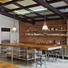 wood & steelIdeas, Exposed Bricks, Kitchens Design, Loft Kitchen, Open Shelves, Industrial Kitchens, Kim Design, Expo Bricks, Eclectic Kitchens