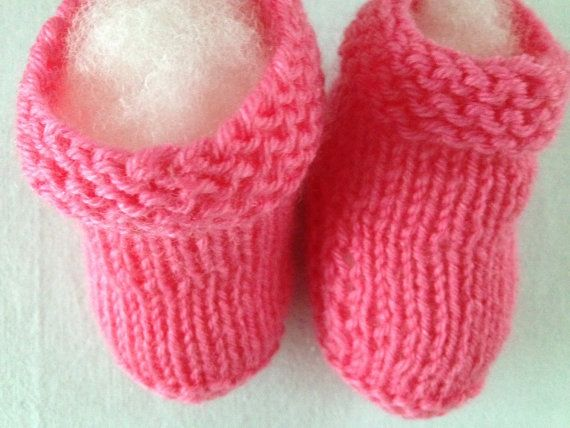 Flash Pink Baby Booties Slippers 03 Months by HobbyJoyDesign, $7.50