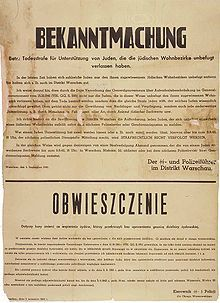 Nazi German poster in German and Polish (Warsaw, 1942) threatening death to any Pole who aided Jews