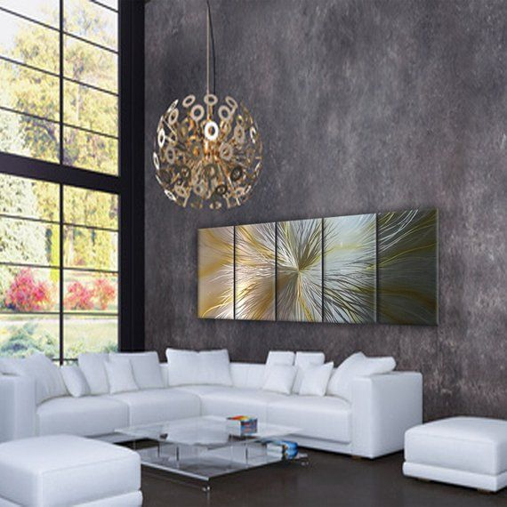 Silver Gold Multipanel Abstract Metal Wall Art Modern Home Decor