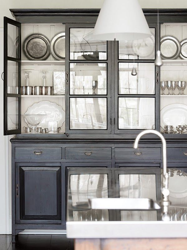 Antiqued black paint: Dining Rooms, Black China Cabinets, Kitchens Hutch, Black Cabinets, Grey Cabinets, Gray Cabinets, White Interiors, Glasses Doors, Kitchens Storage