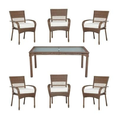Martha Stewart Living Charlottetown Brown 7 Piece All Weather Wicker Patio  Dining Set With