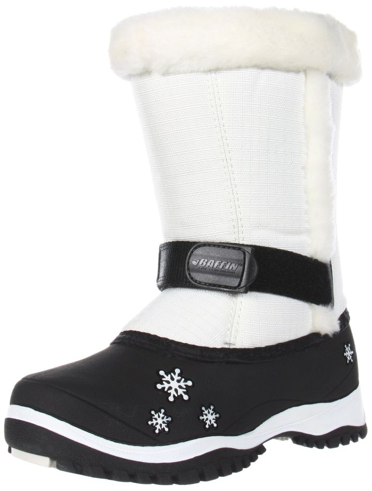 Baffin Lily Snow Boot (Little Kid),White,1 M US Little Kid. Temperature rated to -40F. Multi-layer removable inner boot system. Water-resistant construction. Fast fit Velcro strap system.