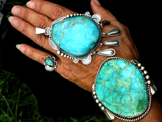 """Gigantic Navajo Cuff and Pendant -  Turquoise Mountain Cuff signed """"M"""" and Gigantic """"Gilbert Tom"""" Turquoise PendantT. $4,800.00, via Etsy."""