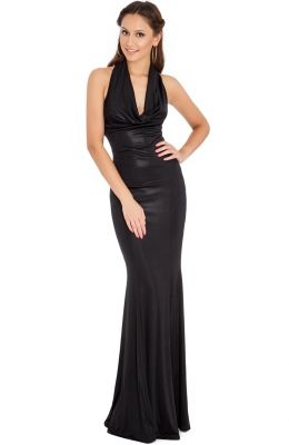 Prom šaty COWL NECK METALLIC EVENING MAXI